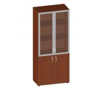 Шкаф широкий высокий со стеклом в алюм. раме (без топа) ФР-6.0+КН-4.0+(60.0+С174)*2
