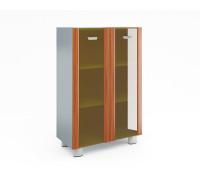 Шкаф книжный средний со стеклом в раме МДФ (без топа и боковин)