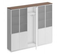 Шкаф комбинированный (документы со стеклом - одежда узкий - документы со стеклом)
