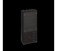 Шкаф для документов, кожаные фасады ящиков/пескоструйные двери