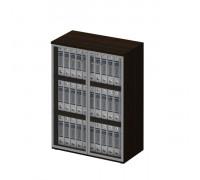 Шкаф для документов средний со стеклянными тонированными дверьми в рамке 769