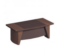 Стол руководителя с фронтальной панелью, столешница дерево/ кожа