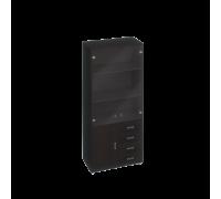 Шкаф для документов, кожаные фасады ящиков/тонированные двери