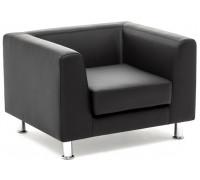 Кресло EVA, черная кожа+кожзам металл