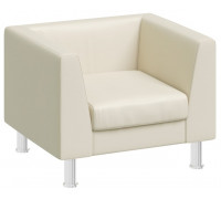 Кресло EVA бежевая кожа, металл