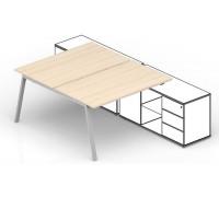 Составной стол на 2 рабочих места для крепления к сервисным опорным тумбам AR2TS128FU