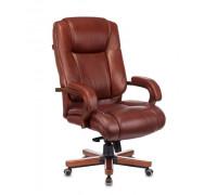 Кресло руководителя Бюрократ T-9925WALNUT светло-коричневый Leather Eichel кожа крестовина металл/дерево