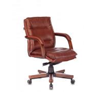 Кресло руководителя Бюрократ T-9927WALNUT-LOW светло-коричневый Leather Eichel кожа низк.спин. крестовина металл/дерево